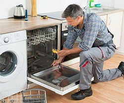 Johnny repairing an Samsung dishwasher